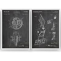 Outer Space Satellite Poster de Patente - Conjunto de 2 Impresiones - NASA Patent Print Póster Con Diseños Patentes…