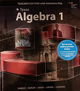 Teks texas algebra 1 9780021402465 0021402469 amazon books texas algebra 1 teacher edition with solutions key part 1 of the fandeluxe Images