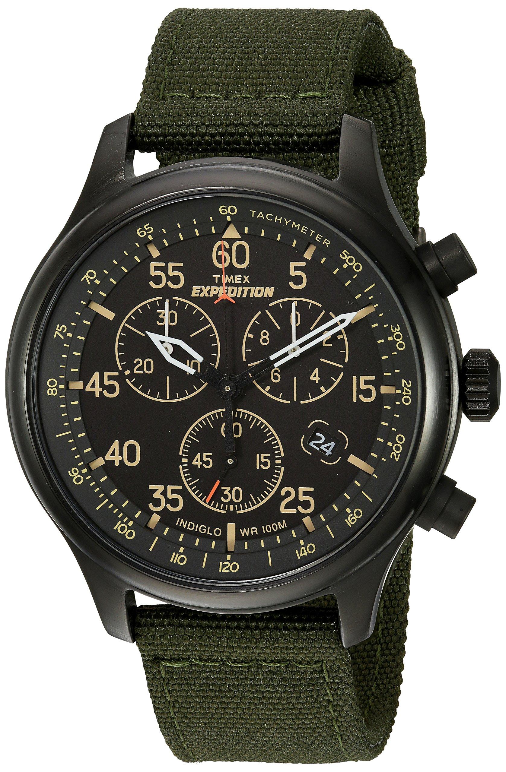 892c9cf20 Timex Men's TW4B10300 Expedition Field Chrono Green/Black Canvas Strap Watch
