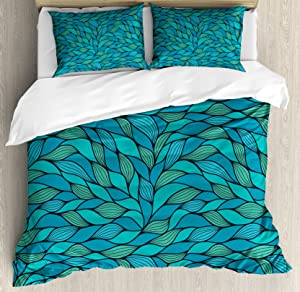 Ambesonne Teal Duvet Cover Set, Abstract Wave Design Ocean Themed Marine Life Pattern Print, Decorative 3 Piece Bedding Set with 2 Pillow Shams, King Size, Mint Green