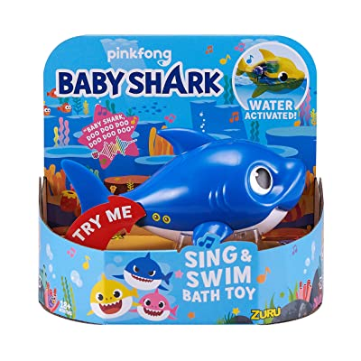 Robo Alive Junior Baby Shark Battery-Powered Sing and Swim Bath Toy by ZURU - Daddy Shark (Blue) (Custom Packaging): Toys & Games
