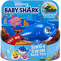 Robo Alive Junior Baby Shark Battery-Powered Sing and Swim Bath Toy by ZURU - Daddy Shark (Blue) (Custom Packaging)