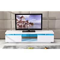 TV Cabinet White or Black Entertainment Unit Stand Gloss LED Lowline Shelf TV13 (White with Light)