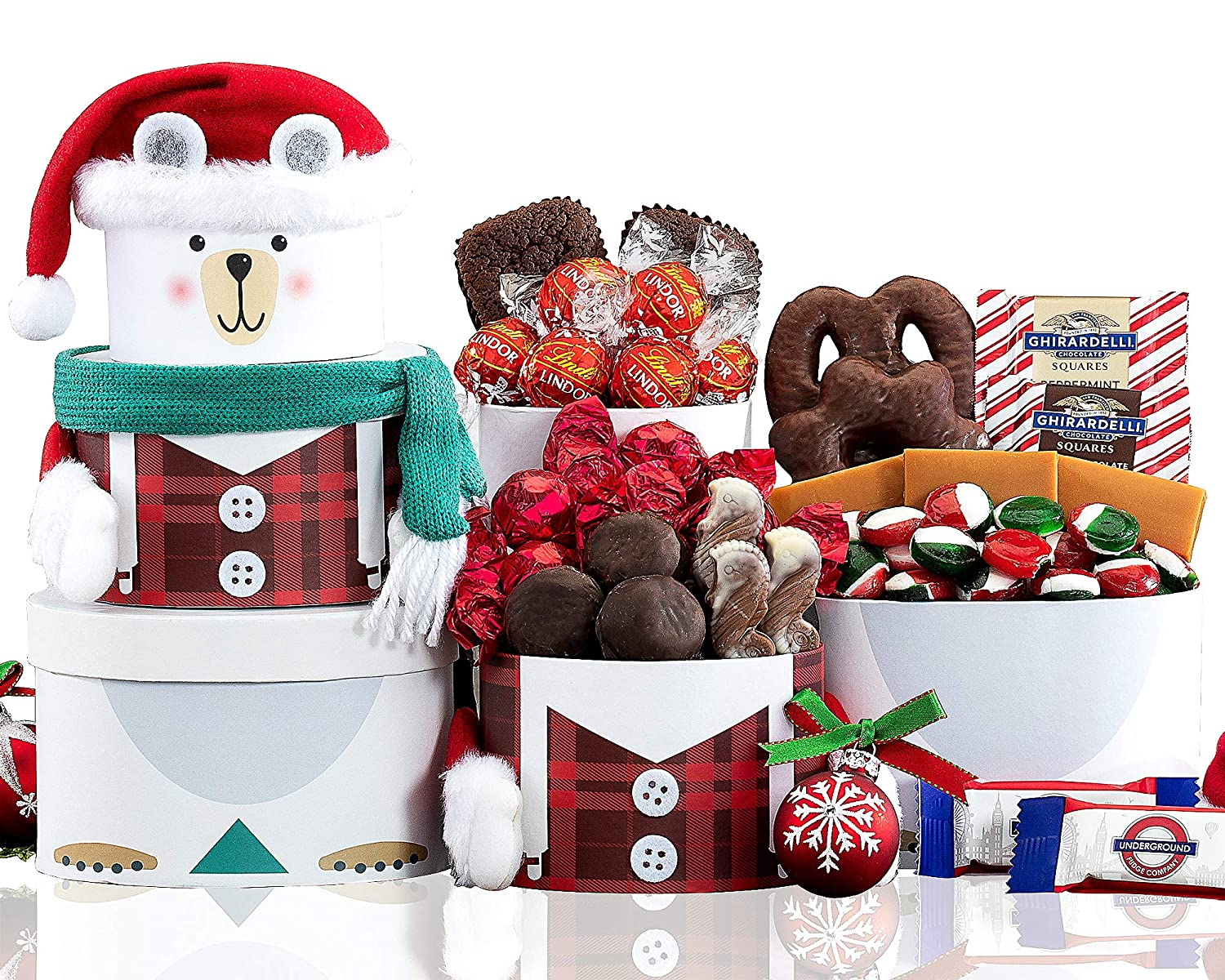 Holiday Polar Bear Gift Snack Tower by Wine Country Gift Baskets