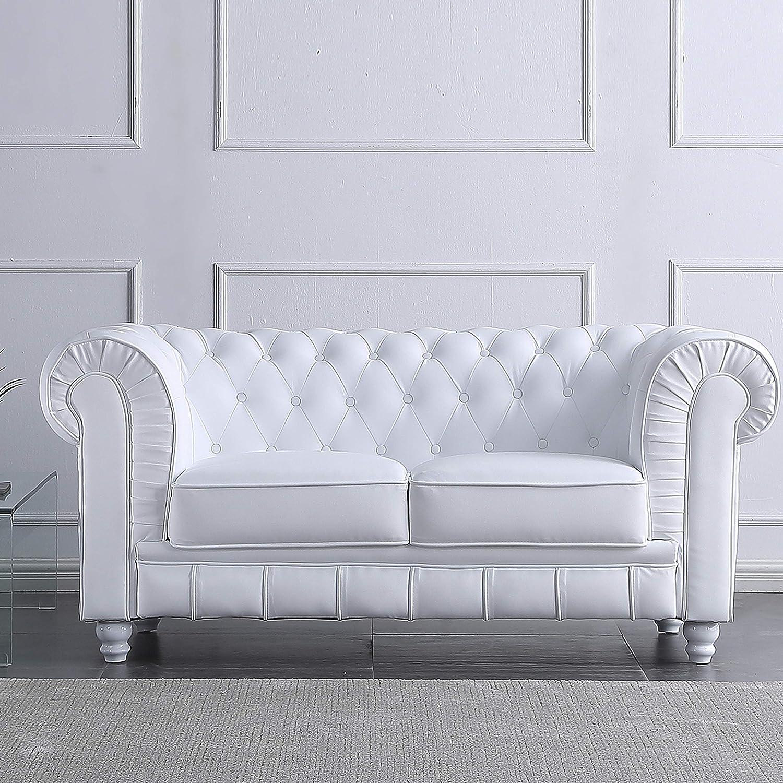 Adec - Chesterfield, Sofa de Dos plazas, Sillon Descanso 2 Personas Acabado en simil Piel Color Blanco, Medidas: 166 cm (Largo) x 84 cm (Fondo) x 75 ...