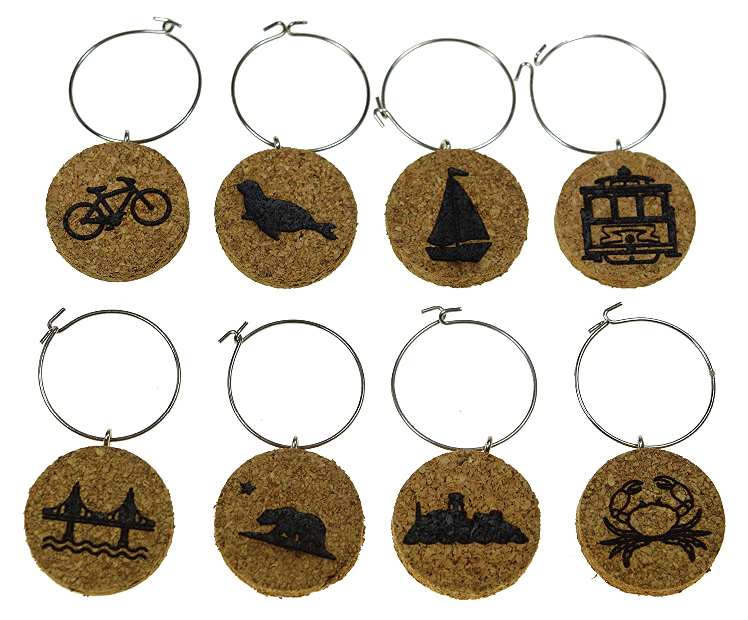 Sailboat Boston Gift Cape Cod Boston Inspired Designs: Lobster Cork Wine Glass Charms Baseball 20+ Unique Sets - Set of 8 Football Anchor Tags to Mark Your Drink Lighthouse Basketball