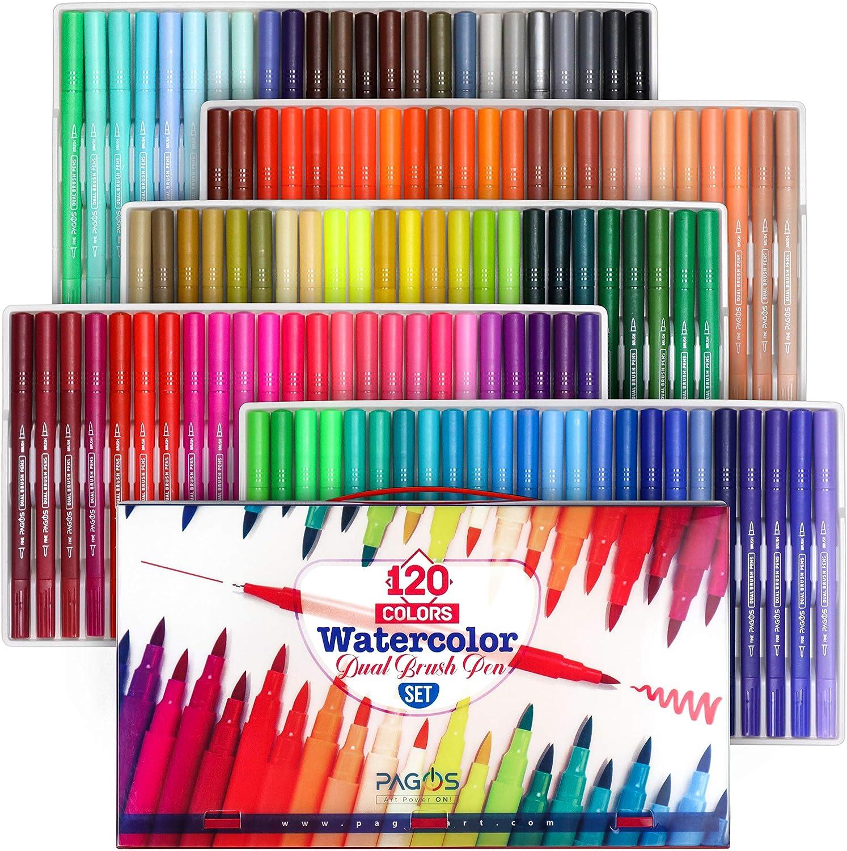 120 Color Dual Brush Art Markers Pen Fine Tip Coloring Books Artist Pens QUALITY