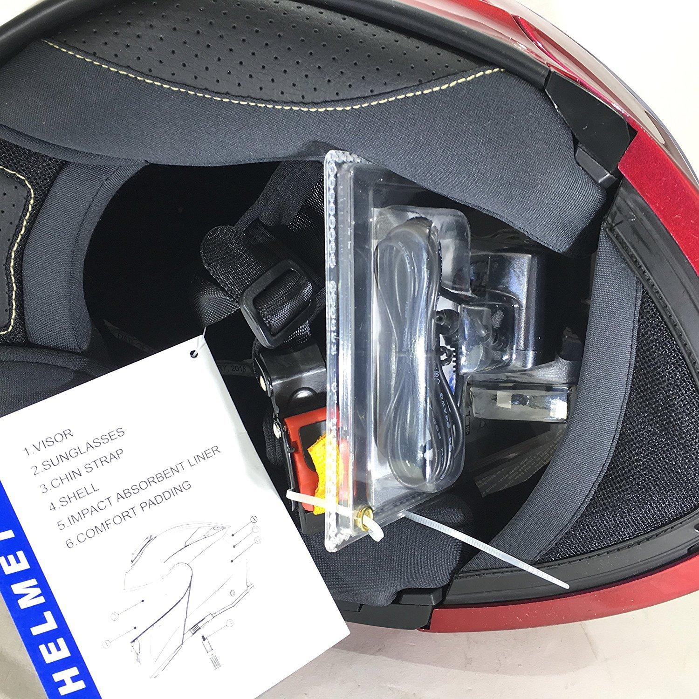 vcan V271/Blinc Bluetooth avant /à rabat Casque de moto GPS MP3/FM Casque Interphone modulaire Bordeaux avec kit dentretien /& Cagoule rouge rouge XS