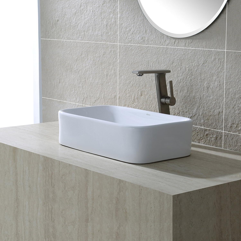 Kraus KCV-122-SN Ceramic Above counter Rectangular Bathroom Sink, 19.44 x 11.84 x 5 inches, Satin Nickel White