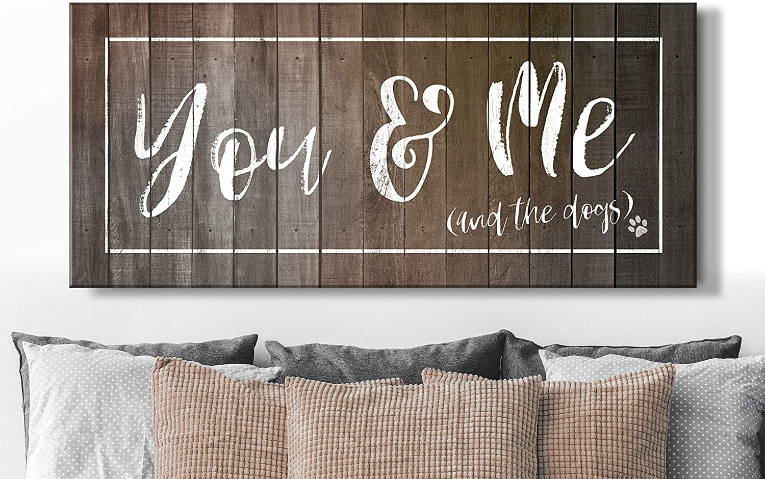 Sense Of Art   You, Me and The Dogs   Dog Signs for Home Decor  Above Bed Decor   Bedroom Wall Decor for Couples   Dog Wall Decor   Dog Signs for Home Decor (Brown, 42x19)