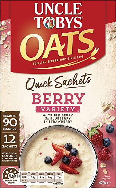Tío Toby Quick Oats Berry Variedad Pack Cereales para el desayuno 12 Pack: Amazon.es: Alimentación y bebidas