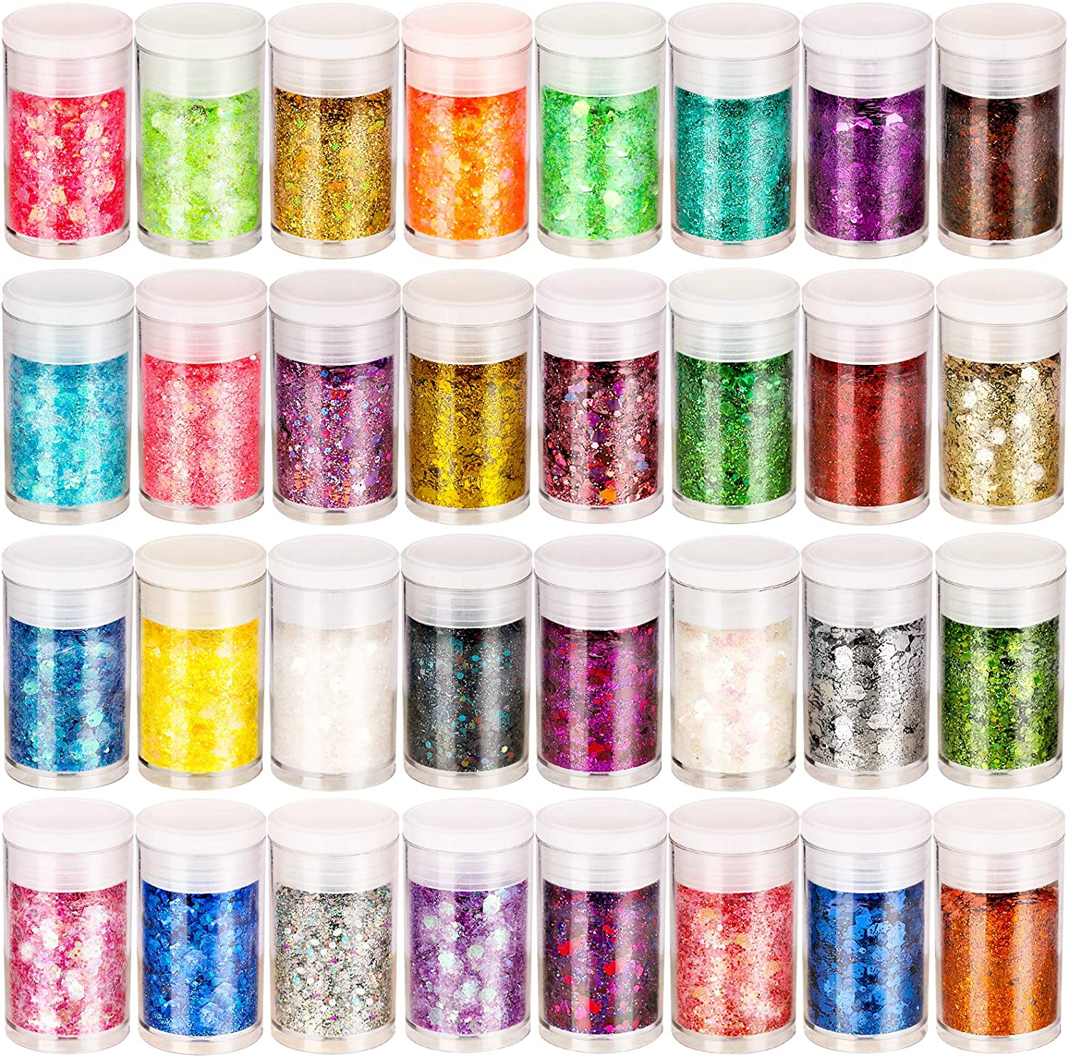Holographic Chunky Glitter, Set of 32, LEOBRO Craft Glitter for Resin Art Crafts, Cosmetic Glitter for Nail Body Face Eye, Epoxy Resin Glitter Sequin Flake Sparkle for Slime Tumbler Jewelry Making