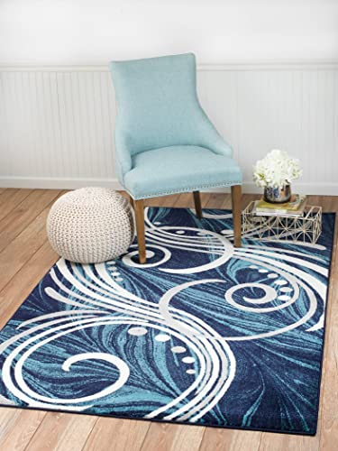NEW Summit Elite S61 Blue Grey White Scroll Swirl Area Rug Modern Abstract Rug Many Sizes Available 8X11 ACTAUL SIZE IS 7 .4 X 10 .6