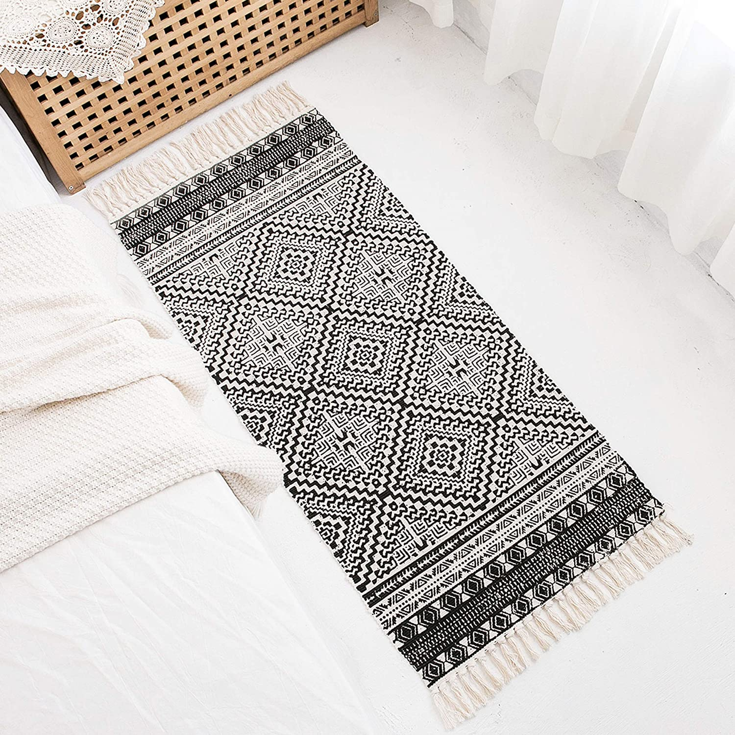 Styled World Cotton Boho Rug with Rug Pad | 2'x4.3' Printed Bohemian Runner Rug with Tassels | Bathroom, Kitchen, Bedroom, Entryway | Black&Cream Square