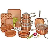 Gotham Steel Hammered Copper Collection – 20 Piece Premium Cookware & Bakeware Set with Nonstick Copper Coating…