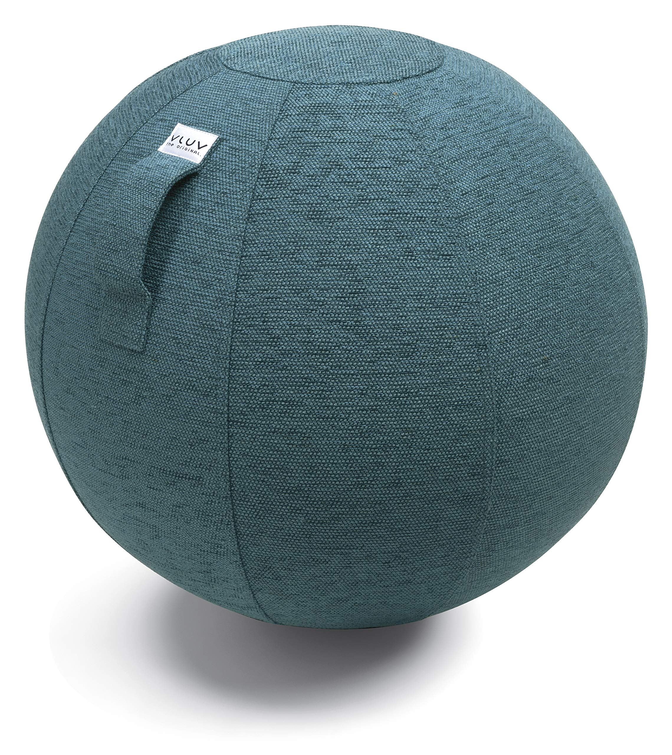 VLUV STOV Premium Quality Self-Standing Sitting Ball with Handle - Home or Office Chair and Exercise Ball for Yoga, Back Stretching, or Gym- Upholstery Fabric Stability Ball (Petrol, 25.6'')