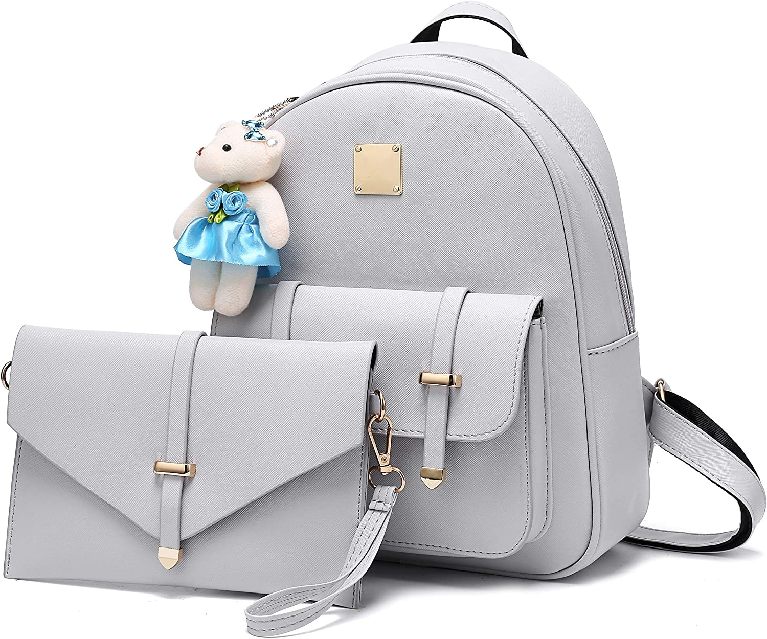 Grey Small Backpack Cute Bookbag Purse for Teen Girls with Bear Keychain