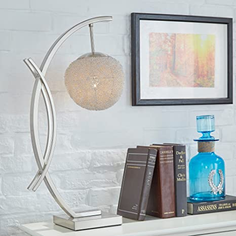 Modern satin nickel arch table lamp with aluminum wire wrapped modern satin nickel arch table lamp with aluminum wire wrapped sphere includes modhaus living pen keyboard keysfo Choice Image