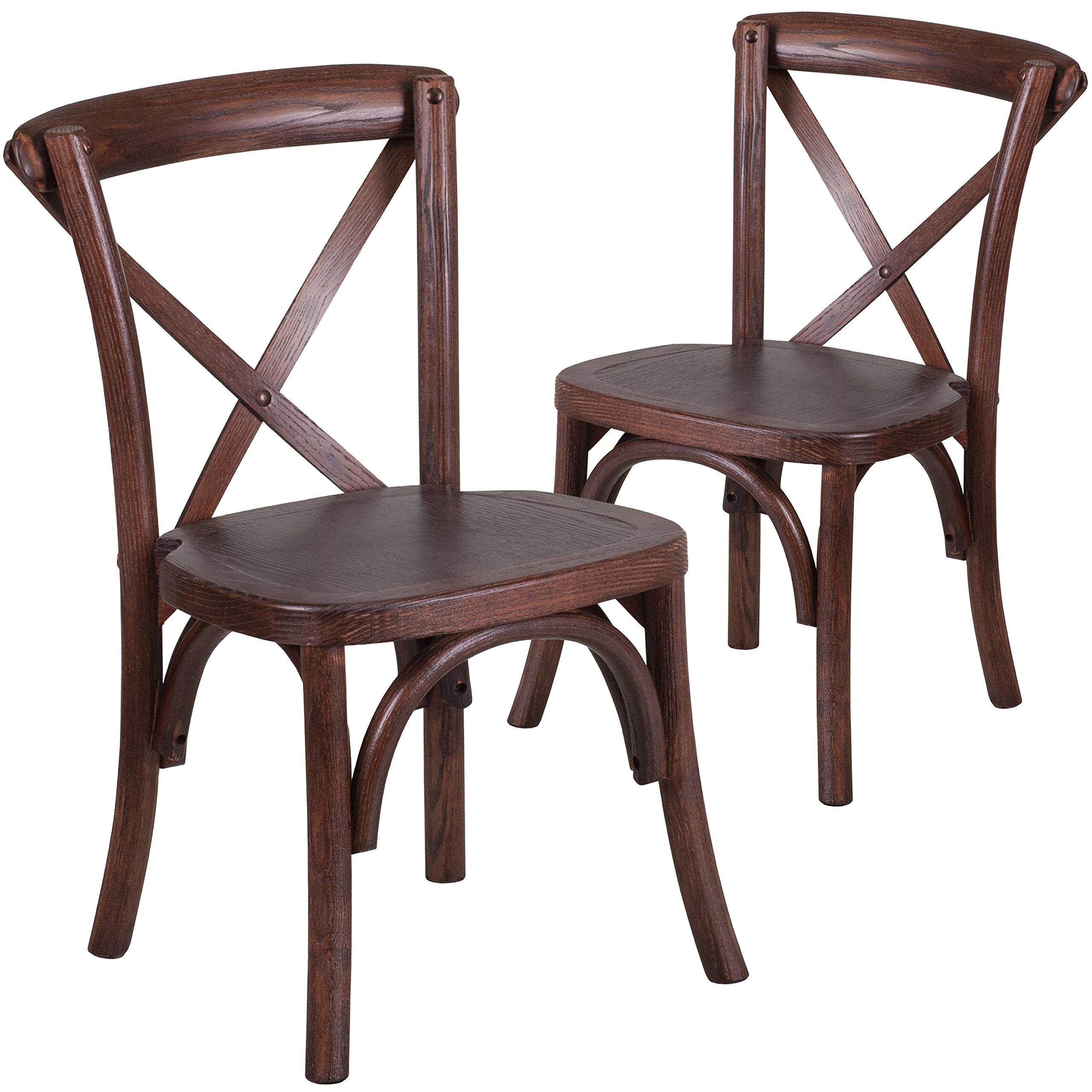 Flash Furniture 2 Pk. HERCULES Series Kids Mahogany Cross Back Chair