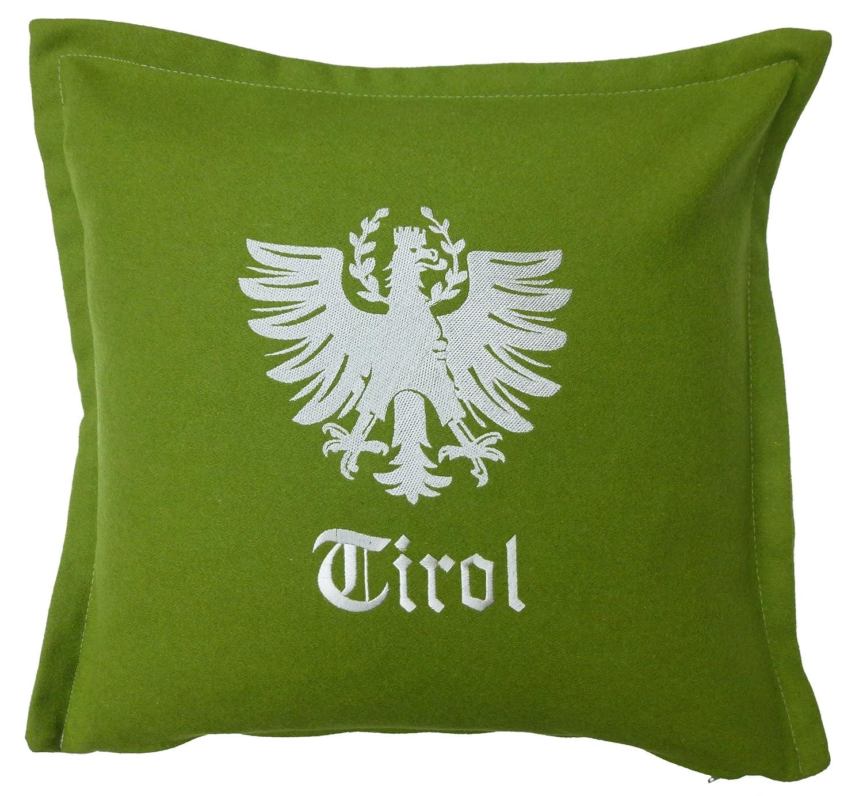 Tirol Living 54478 Kissenhülle Loden, Adler, circa 40 x 40 cm grün