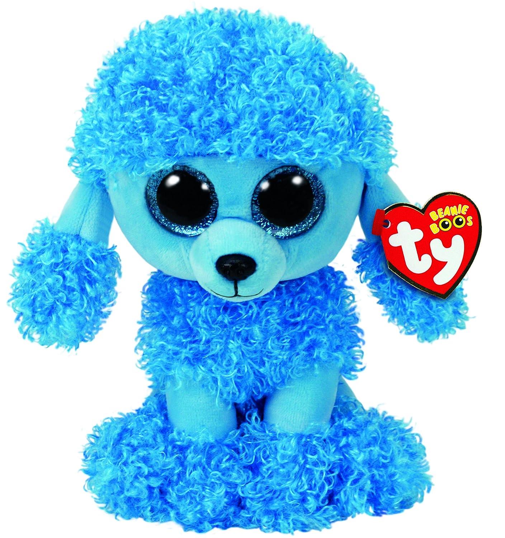 Beanie Boos Ty 37263/ /Mandy Poodle with Glitter Eyes Glub Pushs 24/cm Blue Beanie Boo/'s