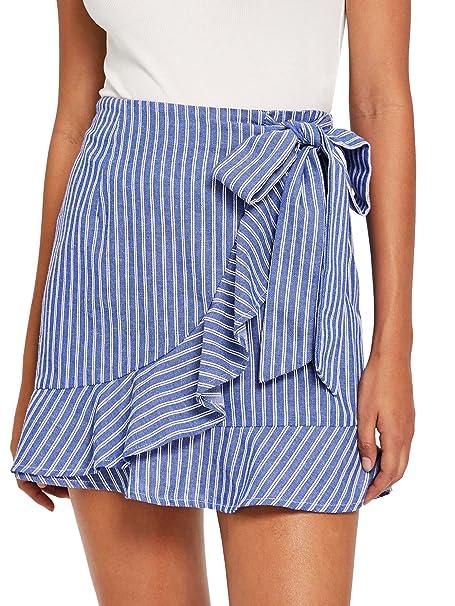 e9ed445d34 SheIn Women's Cute Ruffle Hem High Waist Bow Knot Plaid Mini Skirt Blue# X-