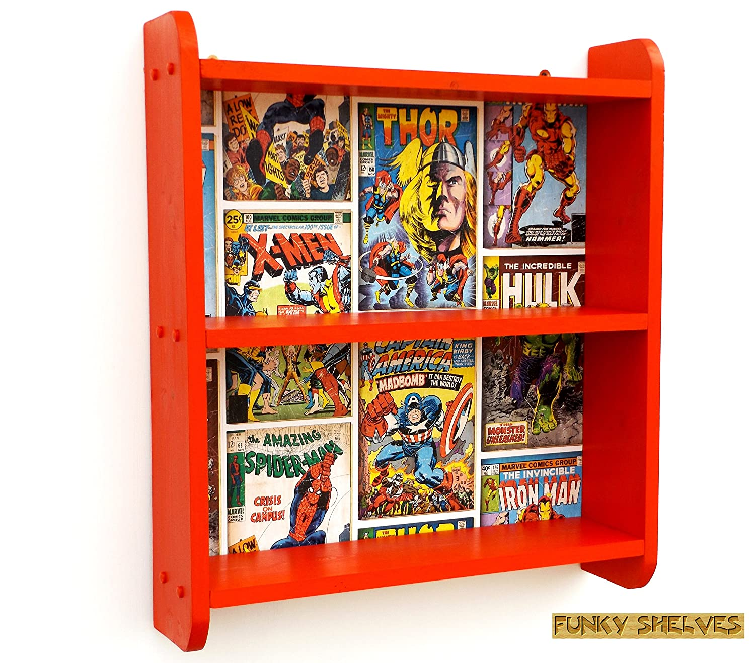 new products ddf43 75484 Boys Red Bedroom Shelves Kids Childrens Bookcase Book Shelf Shelving Unit  Bedroom Toy Storage Box Wall Shelf Furniture Marvel Avengers Hulk Spiderman  ...