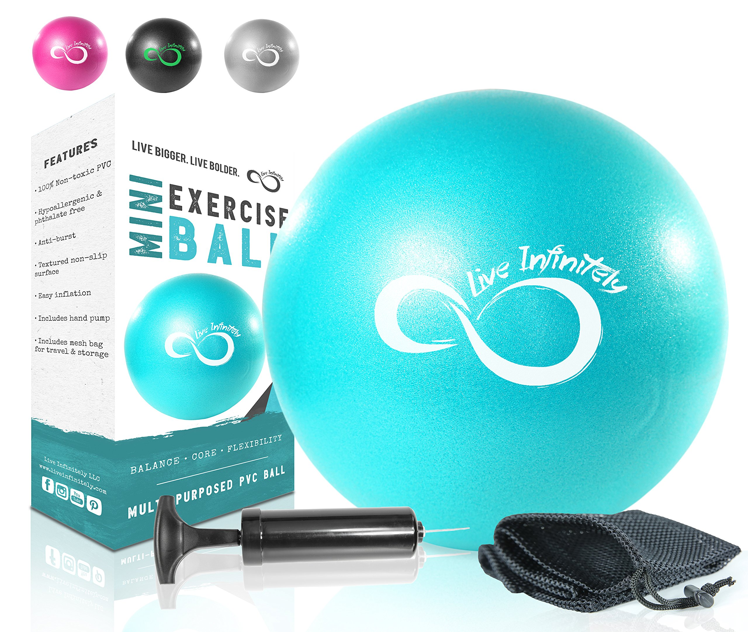 Live Infinitely Professional Grade 9 Inch Anti-Burst Mini Pilates Ball for Home Exercise, Balance Training, Yoga & Barre Workout – Includes Hand Pump, Needle Valve & Mesh Carrying Bag (Teal)