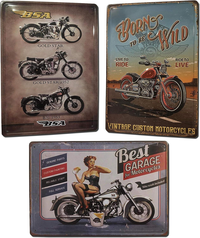 Chapas Decorativas Vintage [ Motos Clásicas ] | Con Relieve y Autocolgables | Salón Despacho Taller Garaje Oficina | 3 Carteles Metálicos Retro de Motos | Placas Decorativas Vintage | 20x30 cm