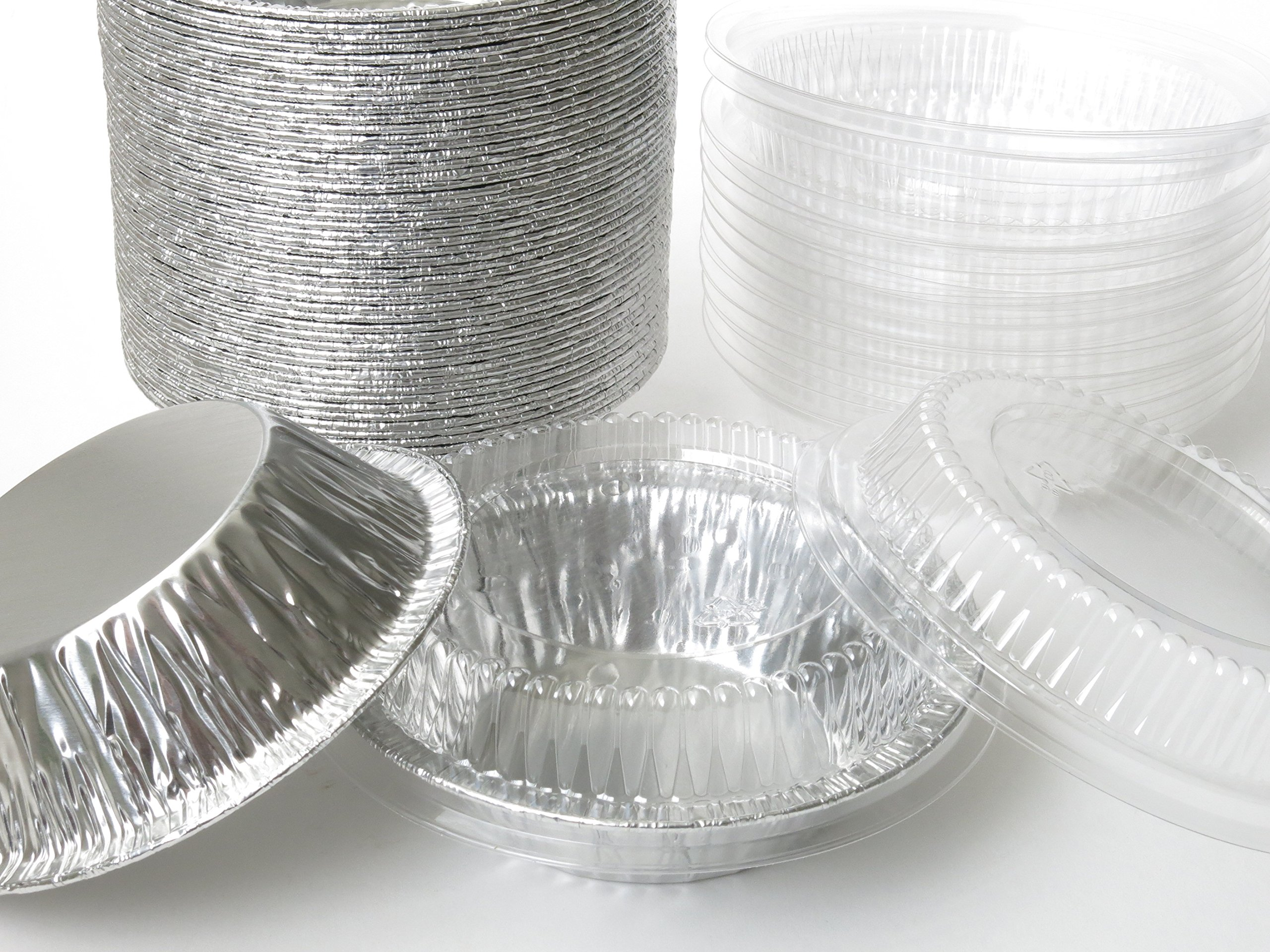 Disposable Aluminum 5'' Tart Pan/individual Pie Pan w/ Clear Dome Lid #501P (1,000) by KitchenDance (Image #2)