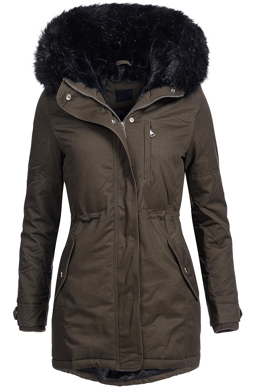 Winterjacke | Wintermantel | gefütterter Baumwoll Parka DV-102 für Damen - Baumwoll Mantel im schlanken Parka-Stil mit buntem, farbigem Kunst- Pelz auch für den Übergang Herbst / Winter