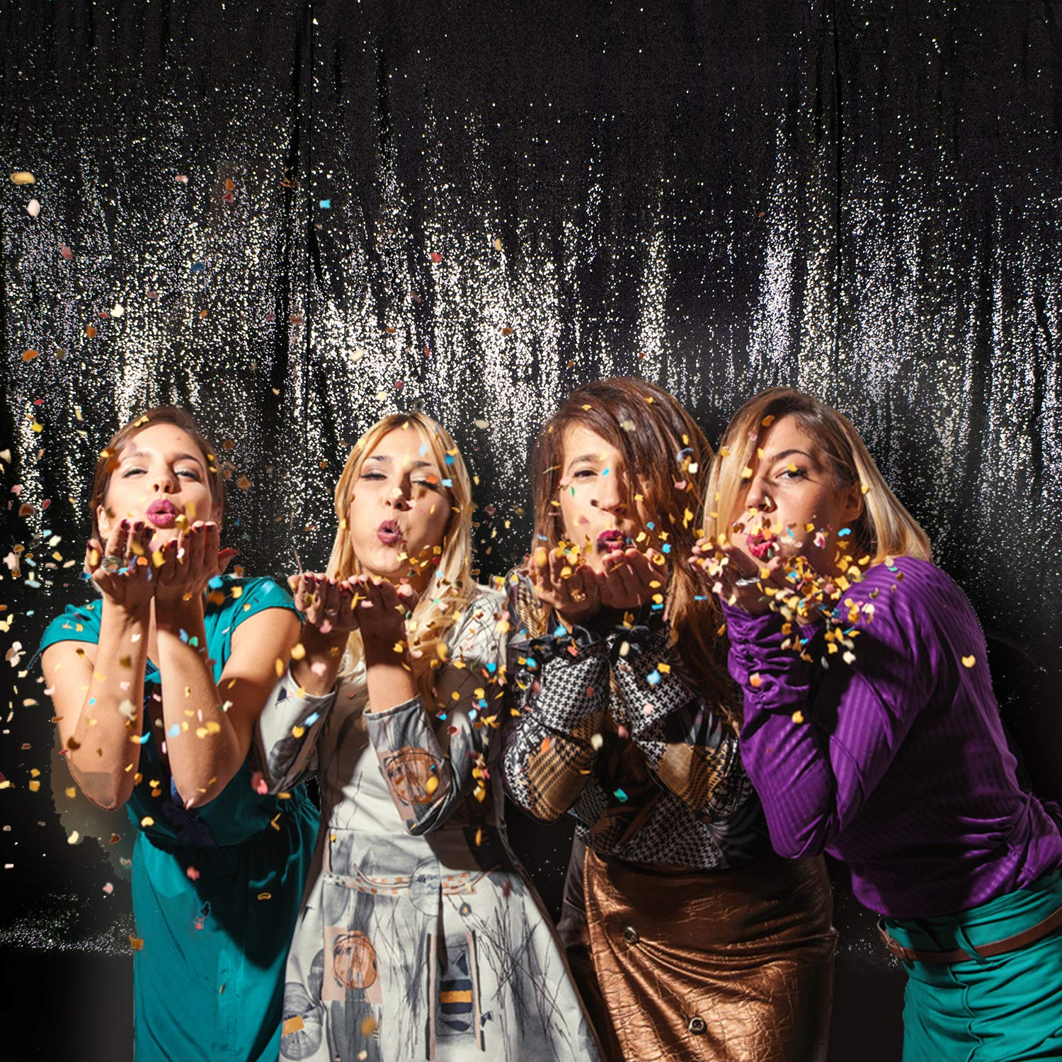 Party Delight 7Ft X 7Ft Black Non-Transparent Sparkling Satin Sequin Backdrop Curtain for Photography and Photo Booth, Birthday, Baby Bridal Shower, Party's Background Decoration. (7Ft x 7Ft, Black)