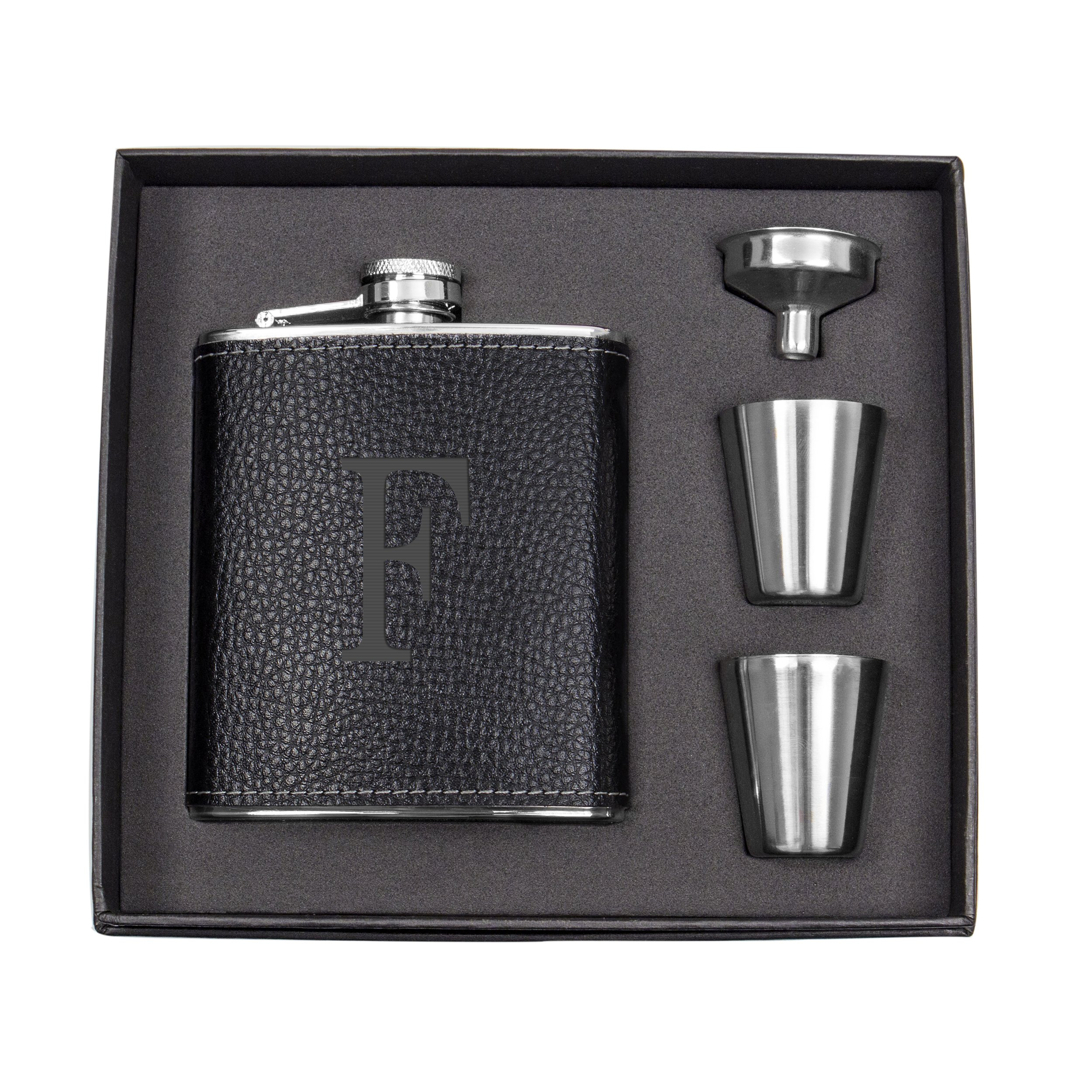 Cathy's Concepts Personalized Leather Wrapped Flask Set, Black, Letter F