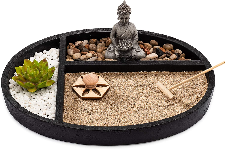 Amazon Com Asanaliving Desktop Zen Sand Garden With Concrete Base Meditating Buddha Statue Bamboo Rake Stamp And Faux Lotus Plant Kitchen Dining