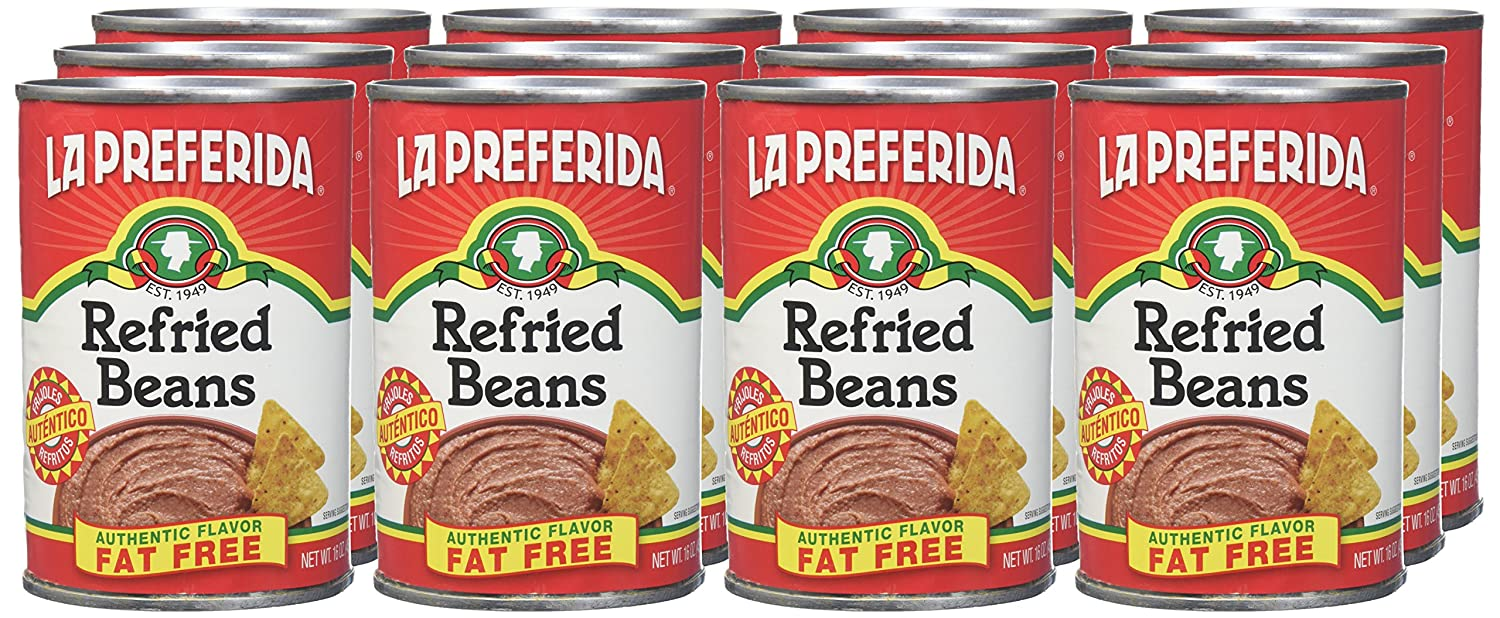 Amazon.com : La Preferida Refried Beans Fat Free, 16-Ounce (Pack of 12) : Pinto Beans Produce : Grocery & Gourmet Food