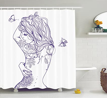 Ambesonne Girly Decor Shower Curtain Set Young Girl With Tattoos And Butterflies Free Your Soul