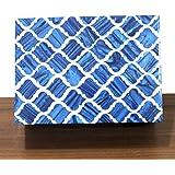 A New Blue Designer Box Horn Royal Home Decorative Handmade Retro Box Vintage Art, 7 X 3 X 5 inches, Blue & White