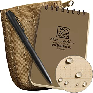 """product image for Rite in the Rain Weatherproof 3"""" x 5"""" Top-Spiral Notebook Kit: Tan Cordura Fabric Cover, 3"""" x 5"""" Tan Notebook, and an Weatherproof Pen (No. 935T-KIT)"""