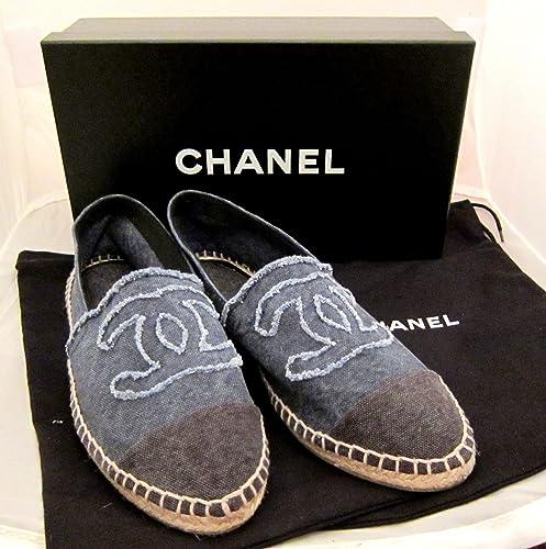 eac2caa559311 CHANEL Cc Logo Espadrilles Canvas Flats Shoes Denim Blue 36 5 5.5 6 ...