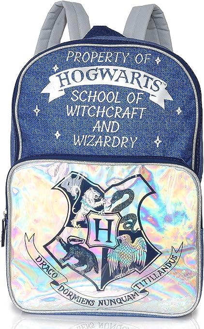 Harry Potter Zaino Scuola Hogwarts Express per Donna Idea Regalo Harry Potter Ragazza Borsa Backpack Zaino Olografico E Stampa Denim in Blu e Argento per Scuola e Viaggi