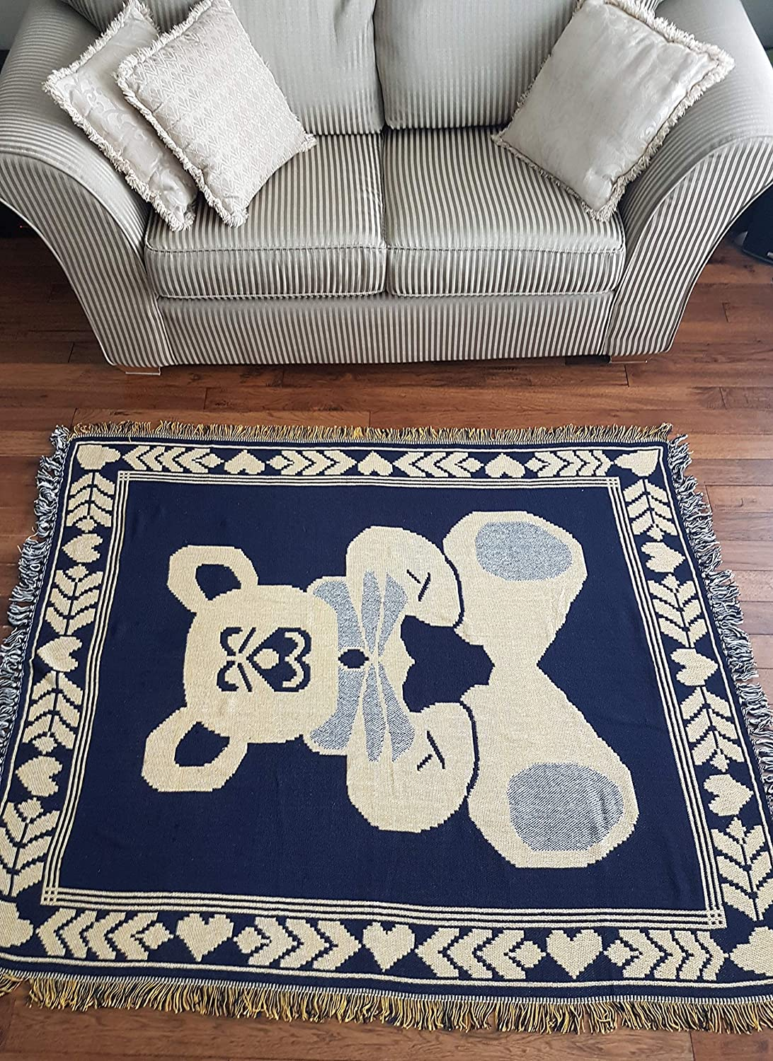 MJP Cotton Hand Knotted Reversible Soft Indian Area Rug 50x60 Bear 127x152.5cm