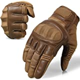 AXBXCX Upgraded Rubber Hard Knuckle Touch Screen Full Finger Tactical Gloves