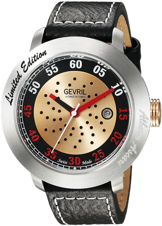 Gevril Alberto Ascari para hombre reloj automático negro correa de piel suizo, (modelo: 1100): Amazon.es: Relojes