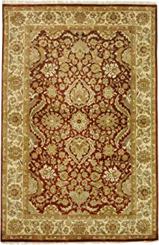 Amazon Com Safavieh Dynasty Collection Dy252a Hand Knotted Traditional Oriental Premium Wool Area Rug 5 X 8 Rust Ivory Furniture Decor