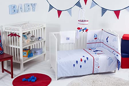 COT BED BABY BEDDING BALE SET SHIPS AHOY BLUE NEW RED KITE 4 PIECE COSI COT