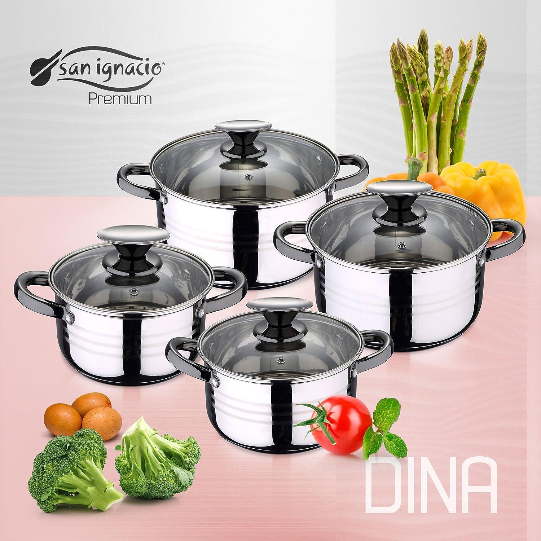 San Ignacio Cocina-Batería 11 Piezas: 4 ollas, 4 Tapas y 3 sartenes, Cromado y Negro, inducción, Talla única: Amazon.es: Hogar