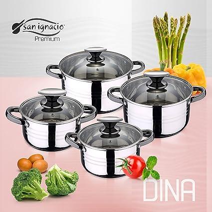 San Ignacio Premium Dina - Bateria de cocina de 4 piezas, acero inoxidable, 1.9