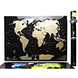 """Black Scratch World Map, """"MyMap Black Edition"""" w Large USA Canada States, Personal Birthday gift, 1 Anniversary Gift in Tube - Travel map - Remember and Share Your Adventures"""