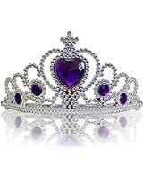 Diadema Corona con Pietre Coroncina Tiara da Principessa per Bambine e Ragazze per Halloween, Compleanno, Carnevali e Feste - Argento/Viola