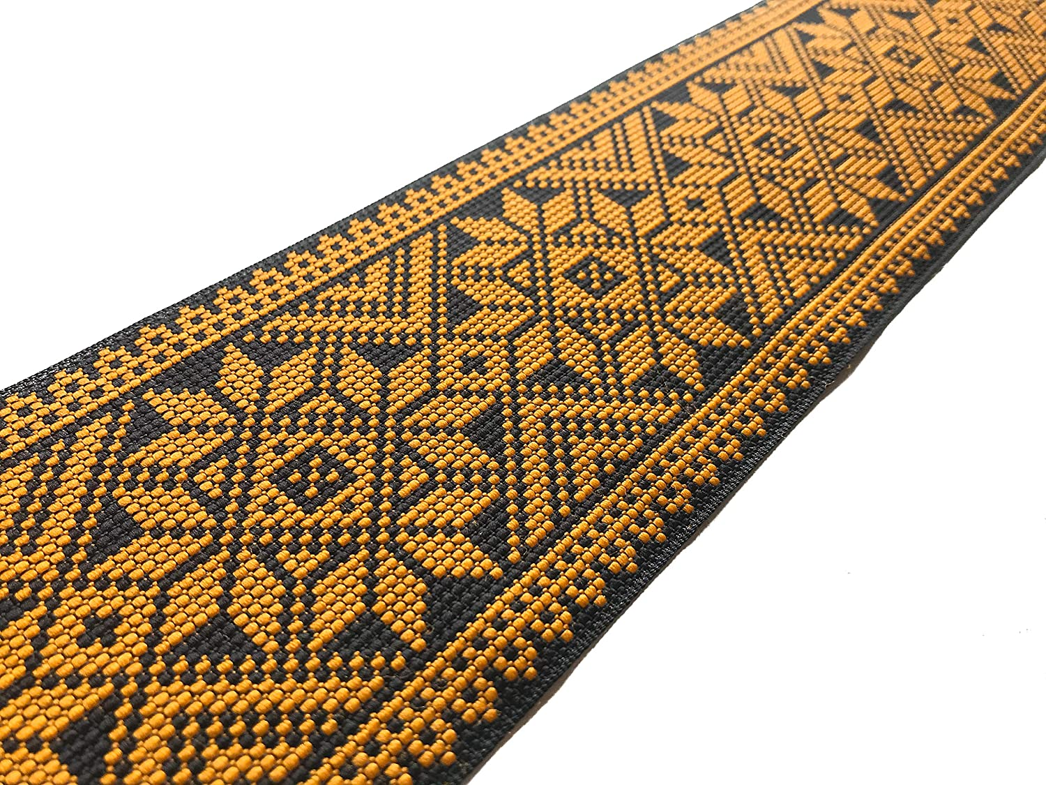 Indian Jacquard Brocade Trim in Yellow Cross Stitch Style Geometric Pattern for Sewing and Crafts 3 Yards by Craftbot